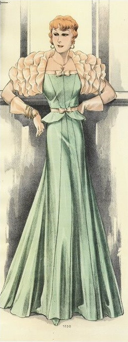 Evening gown with gauntlet gloves