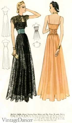 1930s Sheer net evening gowns