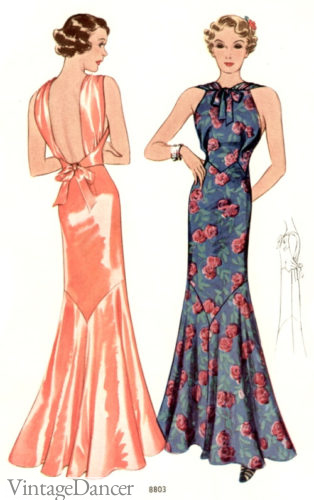 1930s Backless Evening gown, floral high neck