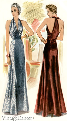 1930s evening dresses Halter neck dresses