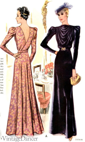 1930s Winter Dinner Dresses with long sleeves evening gowns