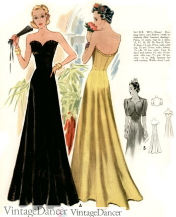 1930s strapless Evening Gowns