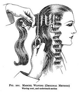 1930 Waving long hair with an iron