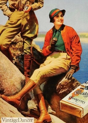 1933 hiking in breeches, polo shirt and light sport jacket