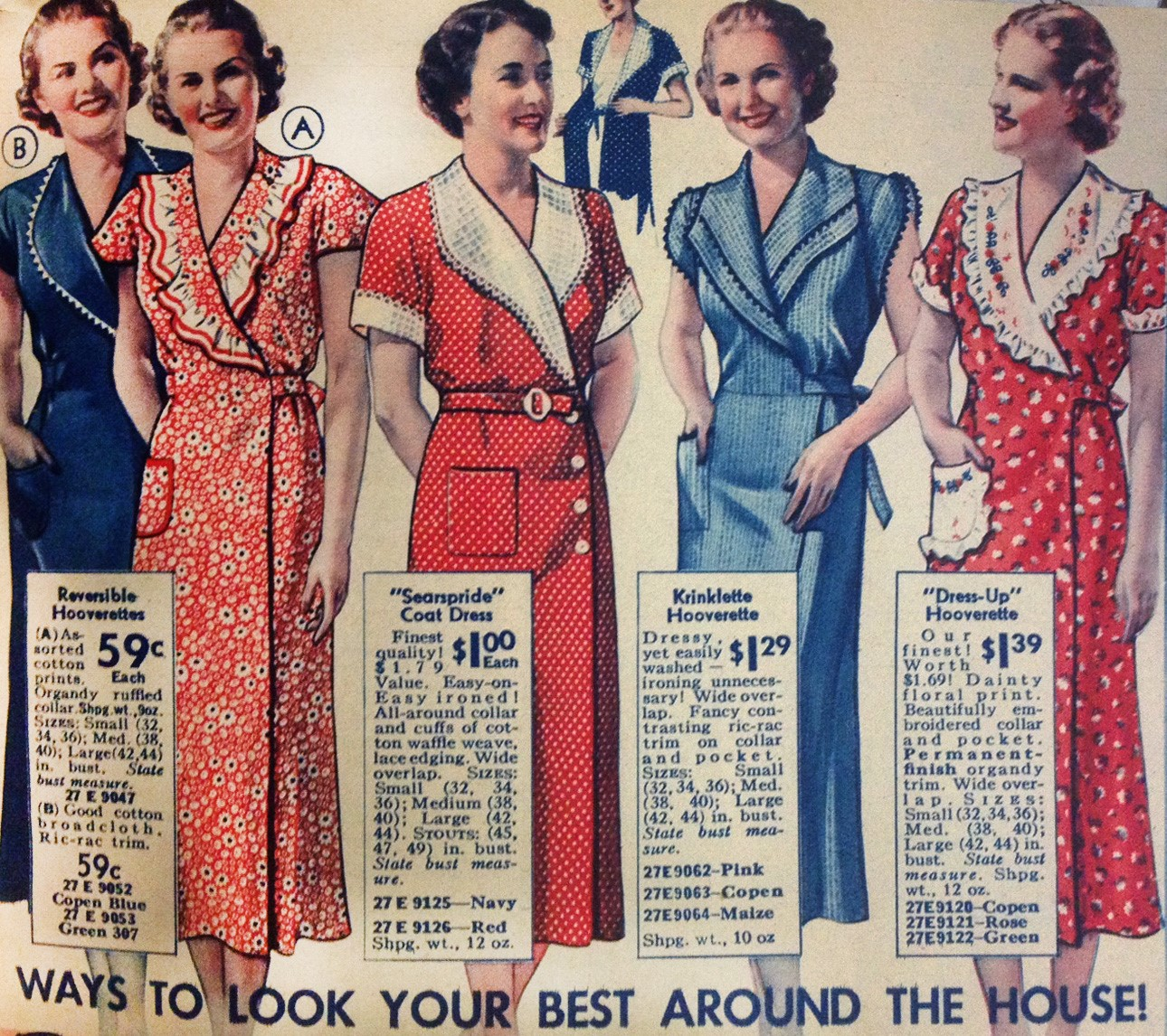 1930s House Dresses Fabrics Patterns