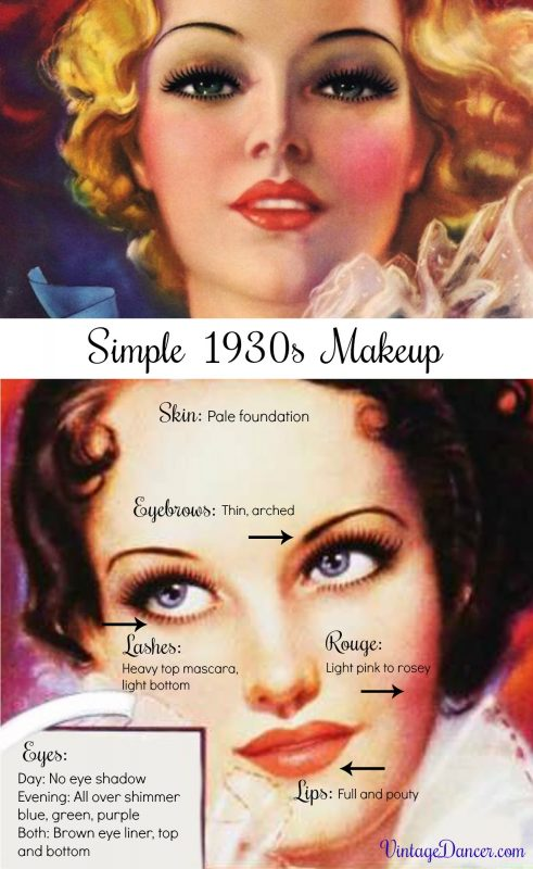 1930s makeup- day and evening tips for simple, natural 30s makeup by VintageDancer.com