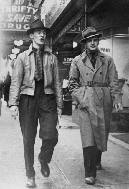 1930s mens casual coats - Short leather jacket and knee length raincoat