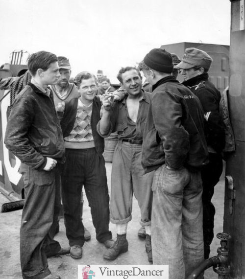 1930s Young men on the job wearing some blue jeans