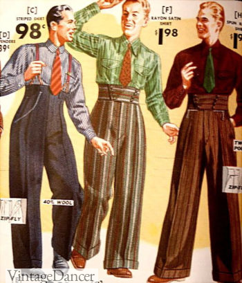 1938 Hollywood waistband pnats and trousers, shirts outfits
