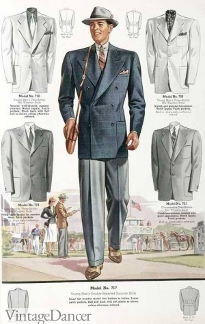 1930s mens suit with blue sportcoat and grey pants @ vintagedancer.com