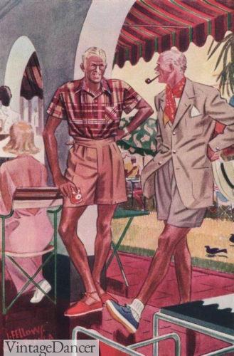 1930s mens shorts on a tropical riviera vacation