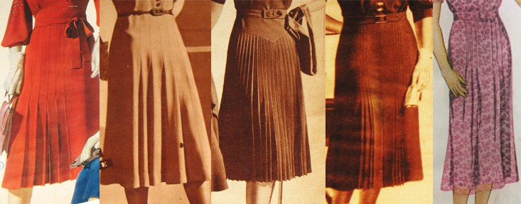 1930s Pleated Dress Skirts