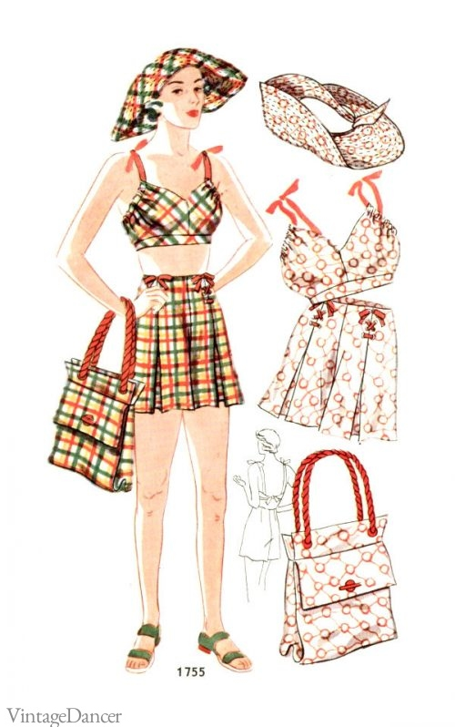 A 1930s coordinating sun set, comprising of hat, top, shorts and bag.