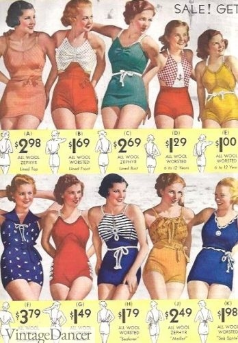 Early 1930s swimsuits and bathing suits