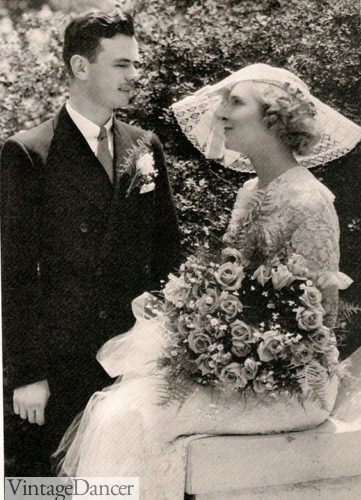 1930s sheer lace wedding hat