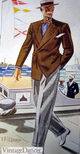 1933 brown sport coat over black and white check pants