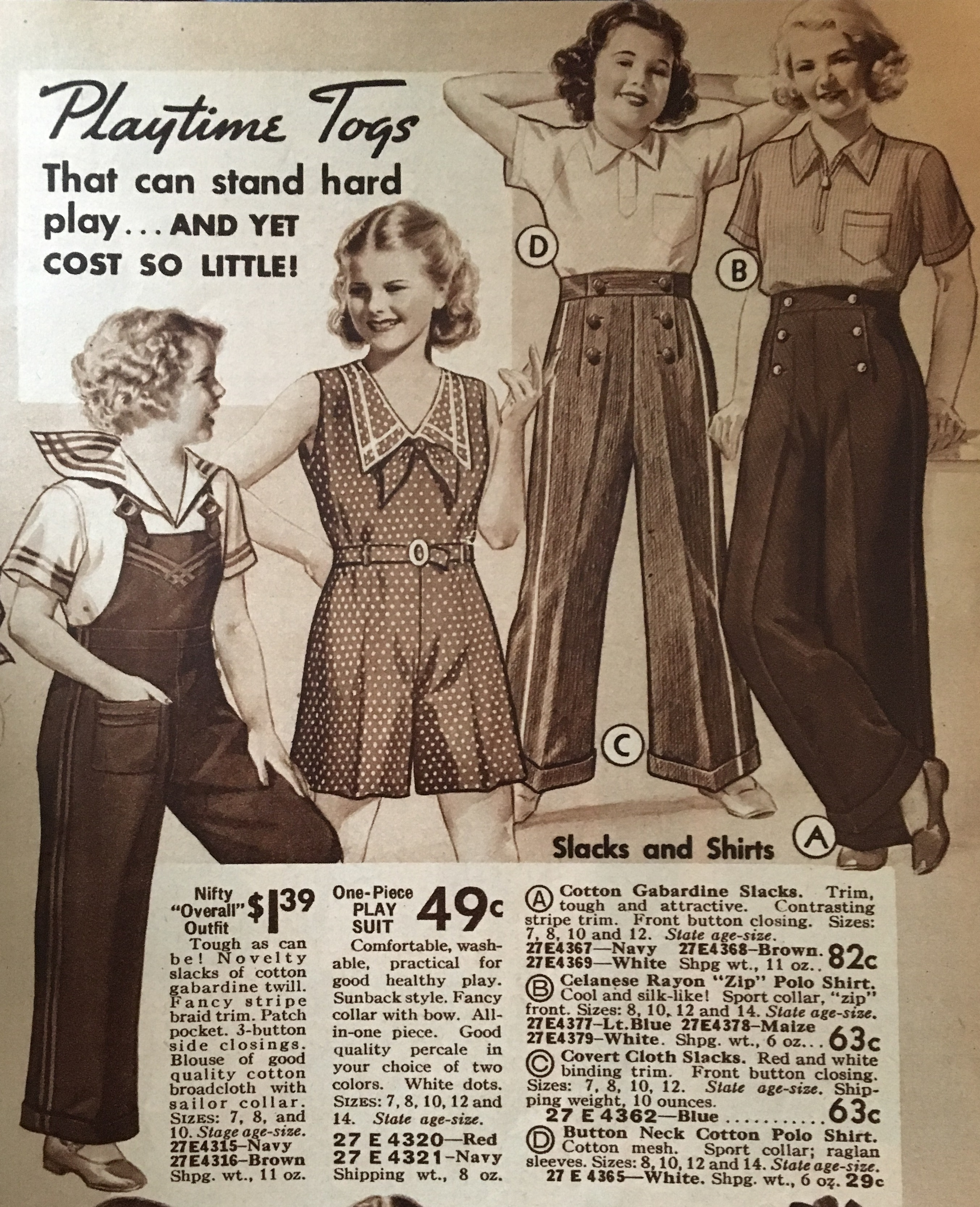 1934 girls play clothes- pants, shortalls and overalls