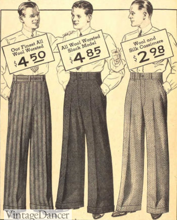 Men's 1934 wide leg, flat front trousers