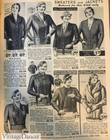 1934 sweaters and jackets plus size fashion 1930s