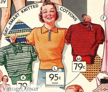 1935 short sleeve sweater-blouses, polo shirt in the center