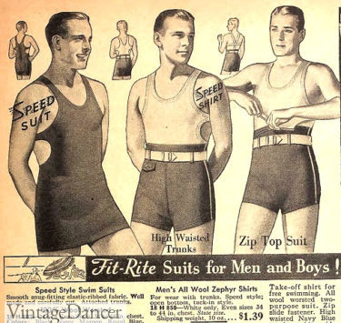 1935 old and new styles mens swimsuits