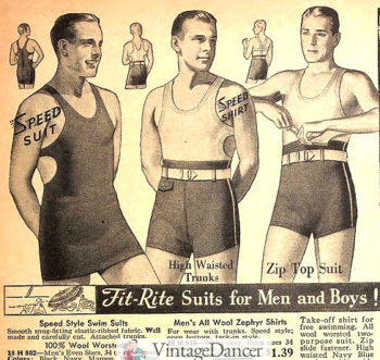 1935 men's one piece swimsuit and two piece shorts with top
