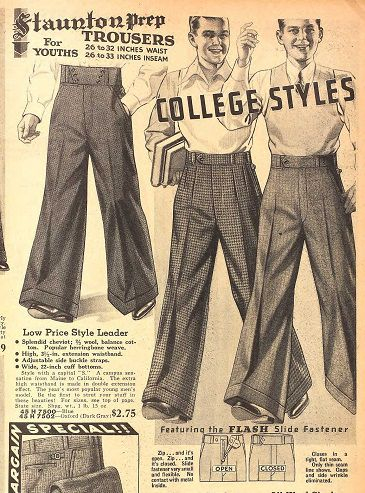 1935 College styles with Hollywood waistband
