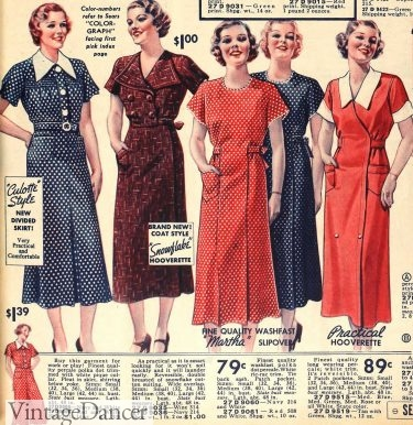1936 house dresses, some with white collars and cuffs
