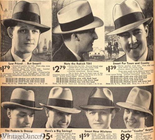 1936 Men's felt hats- fedoras, homburgs