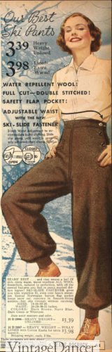 1936 brown ski pants with white blouse winter 1930s outfit at VintageDancer