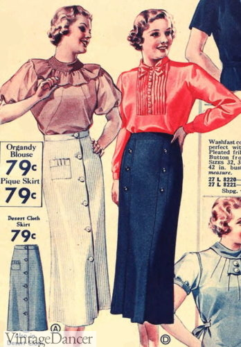 1936 skirts and blouses