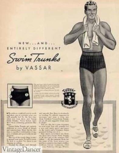1930s mens swimsuits, swim trunks, bathing suit