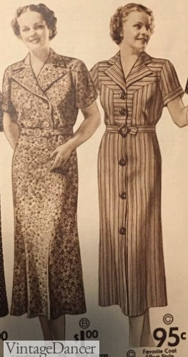 1937 shirtwaist house dress