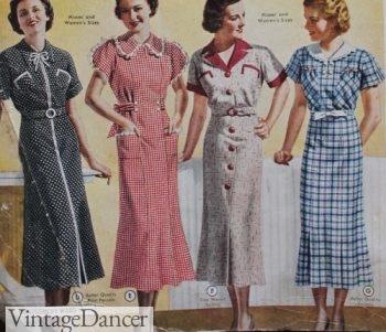 1937 day dresses: dots, checks, tweed and plaid.