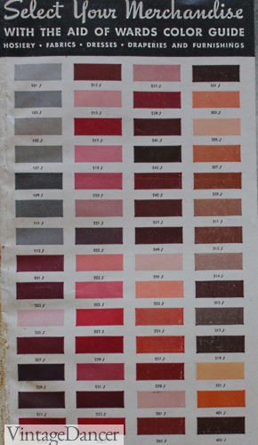 1937 fashion colors 1930s reds, pinks, grey, peach