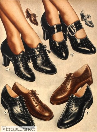 womens 1930s shoes 30s low heel flat shoes oxfords