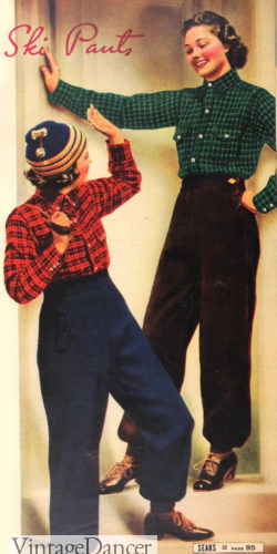 1937 Ski pants with flannel shirts winter 1930s snow outfit at VintageDancer