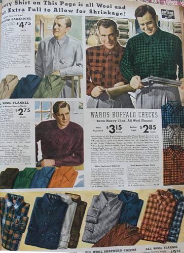 1938 men's plaid shirts- casual, sport, workwear