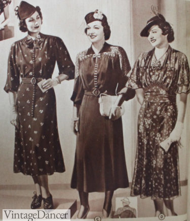 1938 fancy afternoon dresses with long sleeves