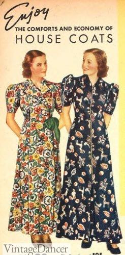 Wrap and zipper housecoats 1930s