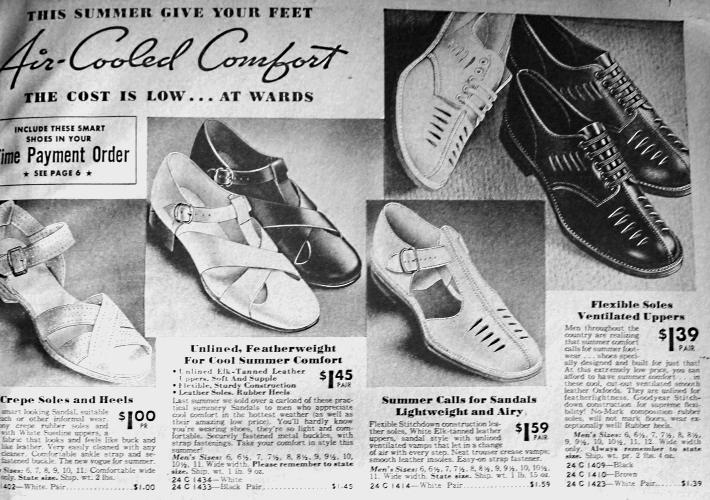 1938 men's summer sandals shoes 1930s