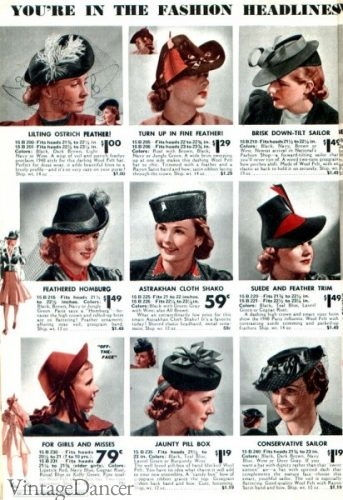 1930's women's hat shaping and styles at VintageDancer