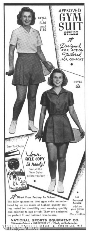1938 gymsuit (front) and skirt and top separates (back)