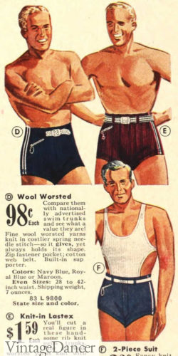 1930s men's bathing suits 1939 with and without the swim top