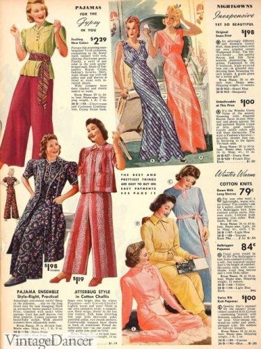 1939 pajamas and nightgowns