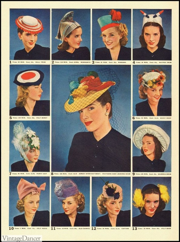 1940 colorful hats for women