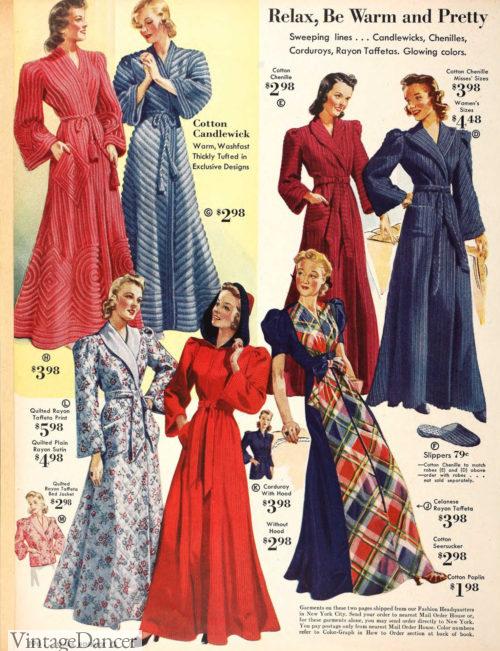 1940 robes of chenille, corduroy, candlewick, taffeta