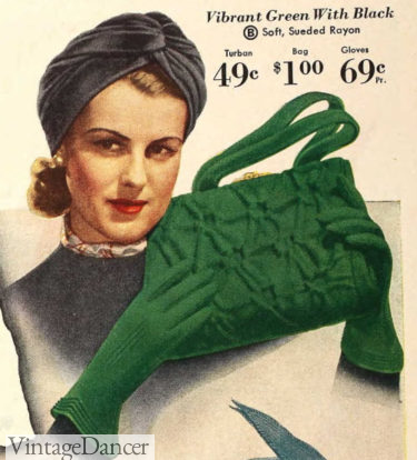 1940 turban hat, gloves and purse