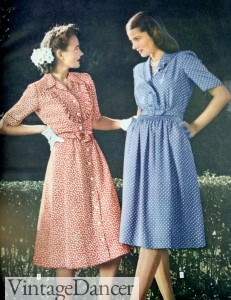 1940s shirtwaist dresses