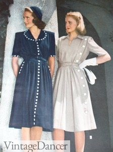 1940s day dresses shirtwaists